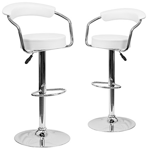 Flash Furniture 2 Pk. Contemporary White Vinyl Adjustable Height Barstool with Arms and Chrome Base