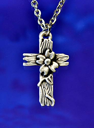 Dogwood Cross Necklace in Fine Lead-Free Pewter