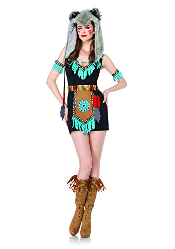 Wolf Sexy Costumes (Leg Avenue Women's 4 Piece Wolf Warrior Costume, Brown, Medium/Large)