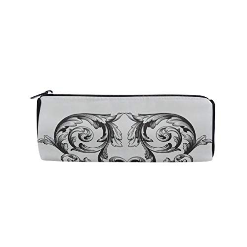Animal Black and White Pattern Students Super Large Capacity Barrel Pencil Case Pen Bag Cotton Pouch Holder Makeup Cosmetic Bag for Kids