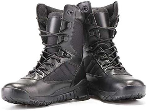 軍事戦術ブーツポリエステルは暖かいハイヘルプサイドジッパーレースアップスタイルの登山靴滑り止め耐摩耗ラバーソールをキープ (色 : 黒, サイズ : 27.5 CM)