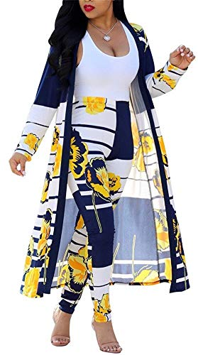 (Womens 2 Piece Outfits Stripes Floral Print Open Front Cardigan Kimono and Long Pants Set)