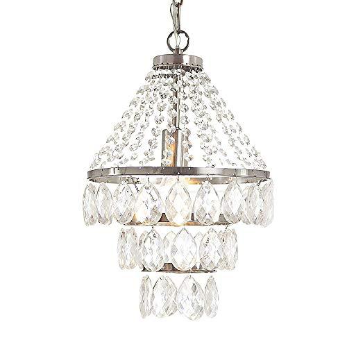 Modern Crystal Fringe 3-Tier Chandelier Chrome Pendant Lighting Fixture Crystal Ceiling Light for Kitchen Bathroom Bedroom Dining Room ()