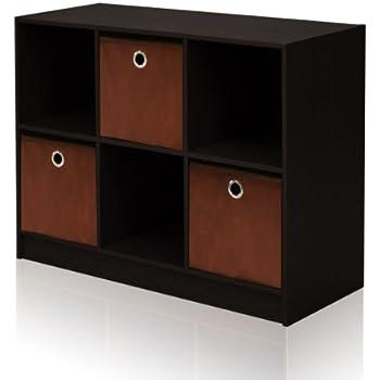 Furinno 99940 EX/BR 3x2 Bookcase Storage With Bins, Espresso/Brown