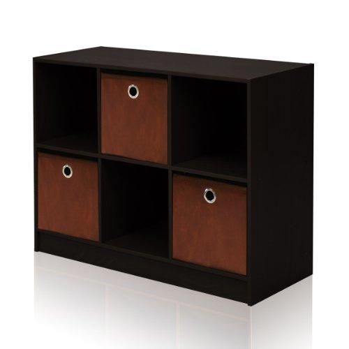 Furinno 99940 EX/BR 3×2 Bookcase Storage with Bins, Espresso/Brown