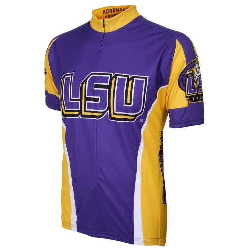 NCAA LSU Adrenaline Promotions Cycling Jersey ( Large,Purple/Gold) (purple/yellow)