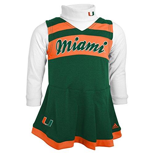 Outerstuff NCAA Miami Hurricanes Toddler Turtleneck Cheer Jumper Dress, 3 Tall, Dark Green