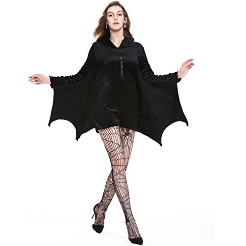 Warm Halloween Costumes For Women (BiBOSS Halloween Costumes For Women Outfit Bat Cosplay Party Dress Sexy Halloween Costumes Jumpsuits(3XL))