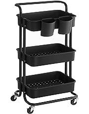 SONGMICS Wózek, 3 poziomy, wózek do serwowania, wózek kuchenny z uchwytem, 2 małe wiszące przegródki, 2 hamulce, plastikowe przegródki do przechowywania, łatwy montaż, sypialnia, pralnia, czarny BSC067B01