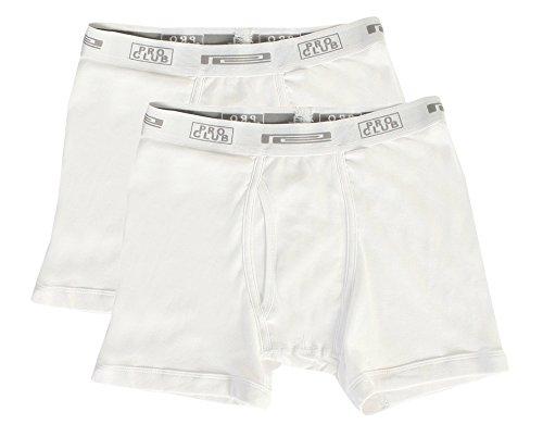 Designer Boxer Shorts (Pro Club Men's 2-Pack Comfort Soft Cotton Boxer Brief, White/White, Large)