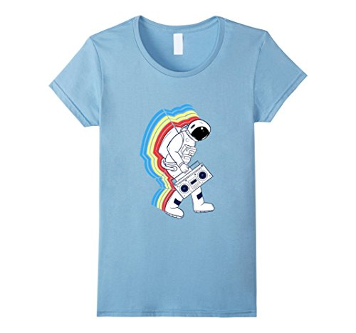 Womens T-Shirt, Astronaut Space Walk with Rainbow Trail, Boombox Small Baby Blue