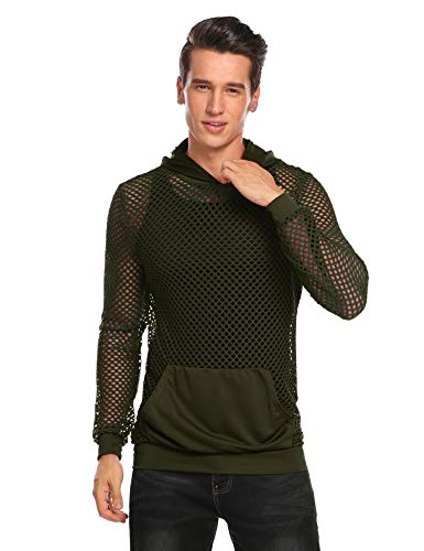 COOFANDY Mens Workout Tank Fishnet Muscle See Through T Shirt Sexy Mesh Transparent Tees Top (Small, Army - Mesh Sexy Large Extra