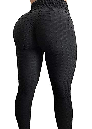 AGROSTE Women's High Waist Yoga Pants Tummy Control Workout Ruched Butt Lifting Stretchy Leggings Textured Booty Thights Black