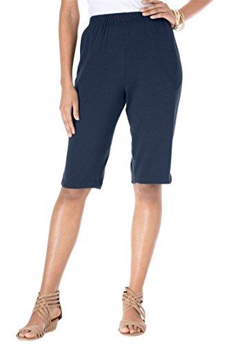 Roamans Women's Plus Size Soft Knit Bermuda Shorts - Pants Navy Knit
