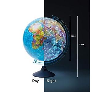 Exerz Globo terráqueo Iluminado 21cm con Iluminación LED Sin Cables Día Y Noche – Mapa de Ingles – Mapa Político/Estrellas De Constelación