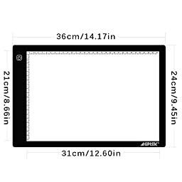 AGPtEK LED Tracing Light Box 14.7 Inch X 9.45 Inch Drawing Tablet Pad Adjustable Brightness For Sketching Drawing Projects