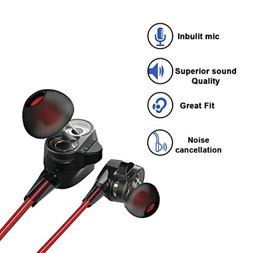 PTron Boom 2 Headphone 4D Deep Bass Stereo Earphone Dual Driver Sport Wired Headset with Mic for All Smartphones (Black/Red) 3