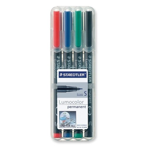 Lumocolor - Fiber Tip Marker Permanent, Superfine, 4/ST, Assorted, Sold as 1 Set, STD 313WP4A6