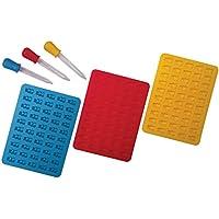 Better Kitchen Products - Moldes de silicona con 3 cuentagotas a juego, 3 piezas, 50 cavidades, color aguamarina, rojo y…