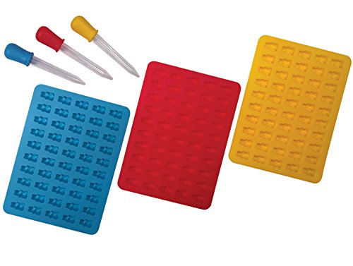 Better Kitchen Products 3 Piece 50 Cavity Silicone Gummy Bear Molds with 3 Matching Droppers, Aqua, Red and Yellow