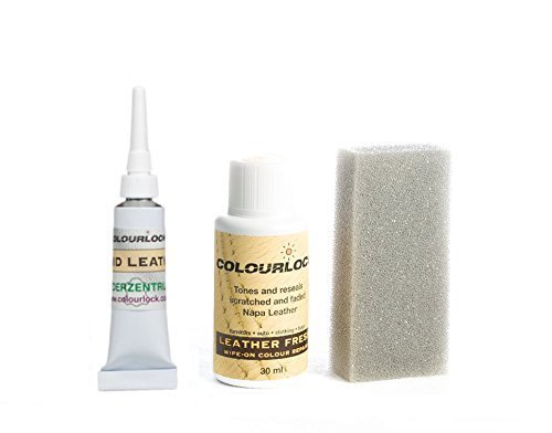 COLOURLOCK Leather Fresh Dye 30 ml & Fluid Leather Filler for Mercedes interiors to repair scuffs, colour damages, light scratches on side bolsters and car seats (Riffgrau / Reef -