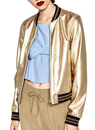 ACHICGIRL Women's Color Block Striped Varsity Baseball Metallic Zip Up Bomber Jacket, Gold XS