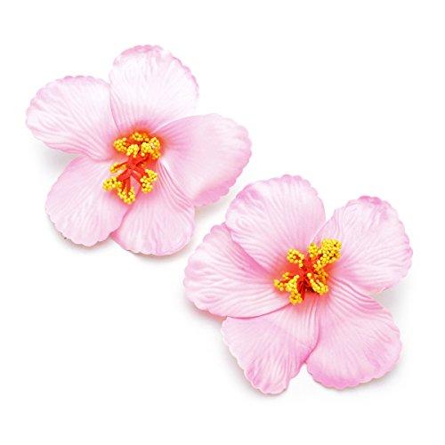DreamLily 2 Pack Hawaiian Plumeria Flower Foam Hair Clip Balaclavas for Holiday Beach Party JZ07 (Pink) ()