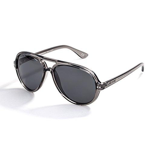 Womens Retro Polarized Sunglasses, Mirrored Lens Fashion Goggle Eyewear(Grey Lens/Grey Frame) (Lens Solid Grey)