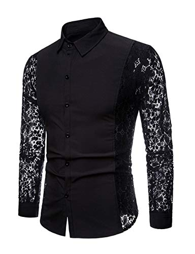 INVACHI Men's Sexy Fishnet Button Down Shirts See Through Lace Sheer Shirts Black Medium