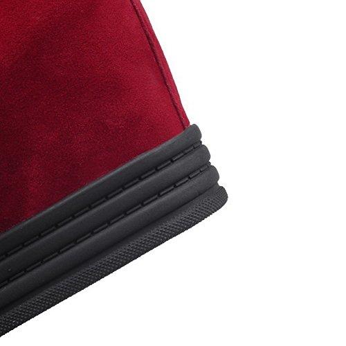 Amoonyfashion Dames Geïmiteerd Suede Low-top Solide Lace-up Hoge Hakken Laarzen Rood