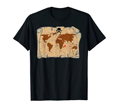 Pirates Treasure Maps Distressed Shirt Men Women Kids -