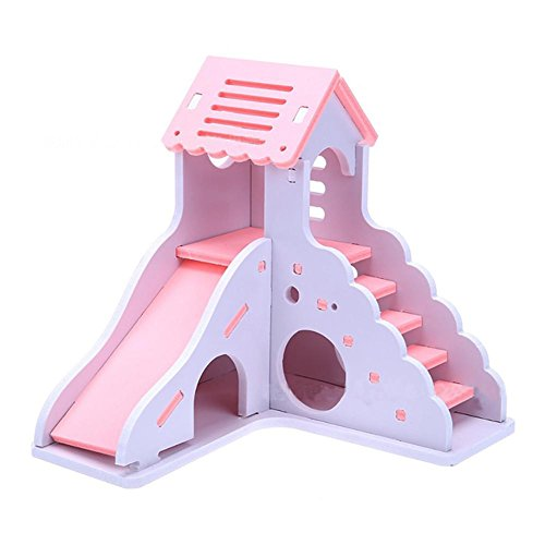 PROKTH 2 Colors Hamster Sleeping Nest Color Small House Toy Small Animal Nest Toy Double-Layer Bungalow Villa Balcony Hamster Cage Supplies 6.576.506.30in (Castle Hamster)