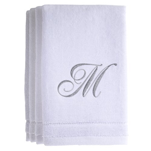 Monogrammed Towels Fingertip, Personalized Gift, 11 x 18 Inches - Set of 4- Silver Embroidered Towel - Extra Absorbent 100% Cotton- Soft Velour Finish - For Bathroom/ Kitchen/ Spa- Initial M (White) by Creative Scents