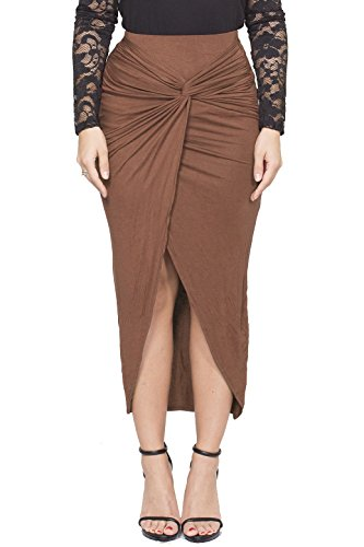 Long Tulip Skirt - ICONOFLASH Women's Asymmetrical High-Low Tulip Bodycon Midi Skirt (Taupe, Large)