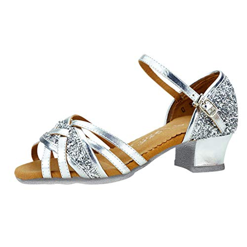 iYBWZH Girls Sandals Low Heel Sequin Bling Kids Ballroom Tango Salsa Latin Dance Shoes Child Girls Princess Shoes Party Wedding for 5.5-14 Years Old(Sliver,CN-27/7Years)