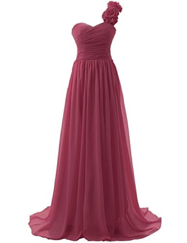 Women's Bridal Prom Bridesmaid Flowers Dresses 2015 Gowns Burgundy One Annie's Long Shoulder Hpcqwp5d