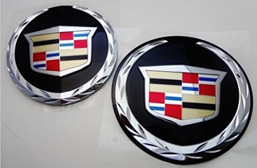 CADILLAC ESCALADE 2007 THRU 2014 FRONT AND REAR EMBLEM WITH BLACK PLATES