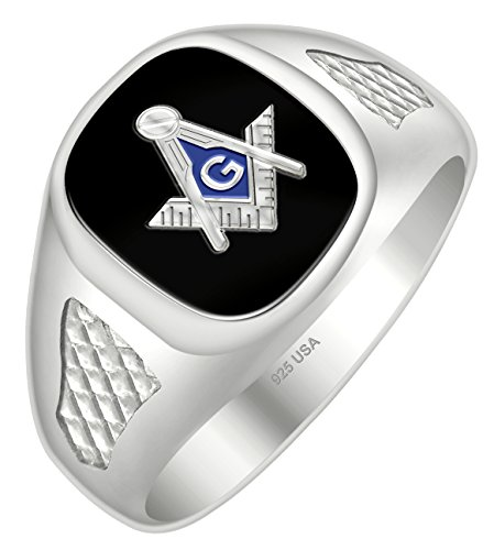 Back Solid Ring Mens Masonic - US Jewels And Gems Men's Blue Lodge 0.925 Sterling Silver Solid Back Black Stone Freemason Masonic Ring Size 12