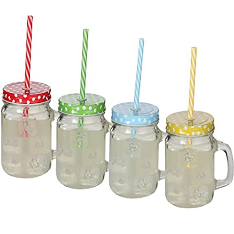 Lily's Home Old Fashioned Mason Jar Mugs with Handles, Polka Dot Lids and Matching Reusable Plastic Straws, Great as Old…