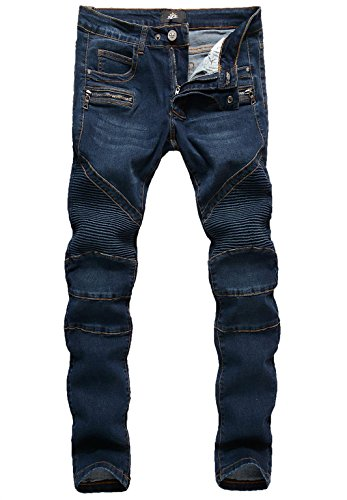 ZLZ Slim Fit Biker Jeans, Men's Super Comfy Stretch Skinny Biker Denim Jeans Pants (32, Blue02)
