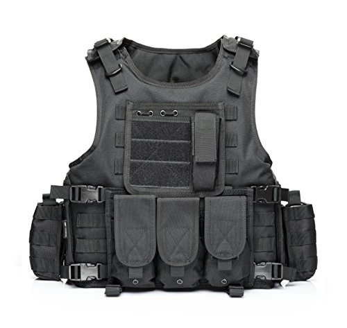 YAKEDA CS Game Vest Tactical Vest Outdoor Equipment Army fans field tactical vests for men --322(black)