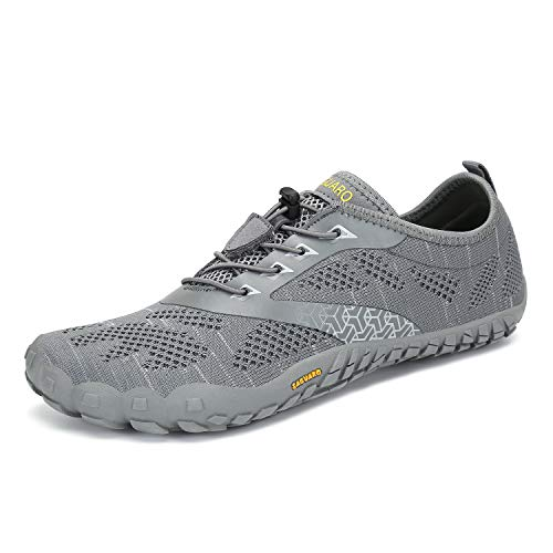 Mens Womens Barefoot Gym Running Walking Trail Beach Hiking Water Shoes Aqua Sports Pool Surf Waterfall Climbing Quick Dry Knit/Grey 11 Women / 9.5 Men