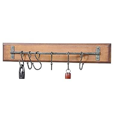 Rustic Wood and Metal Wall Rack w/ 6 Metal Hooks -24 L