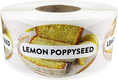 Lemon Poppyseed Grocery Store Food Labels 1.25 x 2 Inch Oval Shape 500 Total Adhesive Stickers