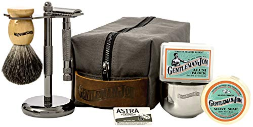 - Gentleman Jon Deluxe Wet Shave Kit | Includes 8 Items: Safety Razor, Badger Hair Brush, Shave Stand, Canvas & Leather Dopp Kit, Alum Block, Shave Soap, Stainless Steel Bowl and Astra Razor Blades