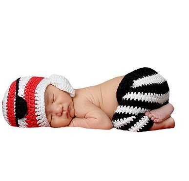 Eyourhappy Baby Photography Prop Crochet Knit Costume Pirate Hat Pants Shorts Outfits -