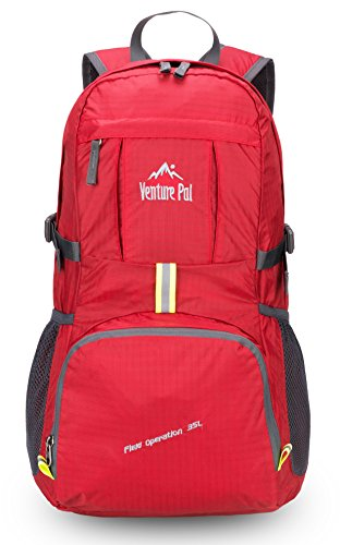 Venture Pal Lightweight Packable Durable Travel Hiking Backpack Daypack 6 DURABLE. This Venture Pal Backpack is made with high quality tear and water resistant material, provides extra strength and long-lasting performance with the lightest weight possible. The extra strength provided by the double-layer bottom piece makes it very convenient to carry more load on your journeys. Heavy duty two-way SBS metal zippers across the backpack are convenient to operation on whichever side you prefer. Longevity is further enhanced by bar-tacks at major stress points. COMFORTABLE. Breathable mesh shoulder straps with plentiful sponge padding help relieve the stress from your shoulder. The length of the shoulder straps is adjustable. The chest strap with a whistle buckle help you lock your backpack in place securely. MULTI COMPARTMENTS and KEEP THINGS ORGANIZED. This backpack features one main zipped compartment, two zipped front pockets and two side pockets. The main compartment provide enough room (35 liters) no matter if it's a day trip or a week long journey. Two separators in the main compartment are convenient enough to help you further organize things. The two front pockets are good for holding small accessories and for easy access. Two side pockets are good for holding water bottles and umbrellas.