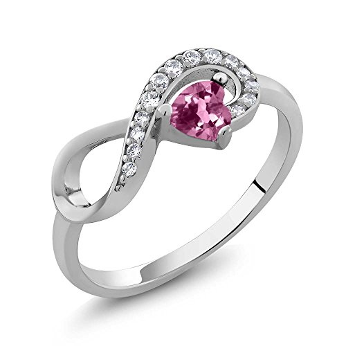 Silver Tourmaline Ring (Sterling Silver Heart Shape Pink Tourmaline Jewelry Women's Infinity Ring (0.32 cttw, Available in size 5, 6, 7, 8,)
