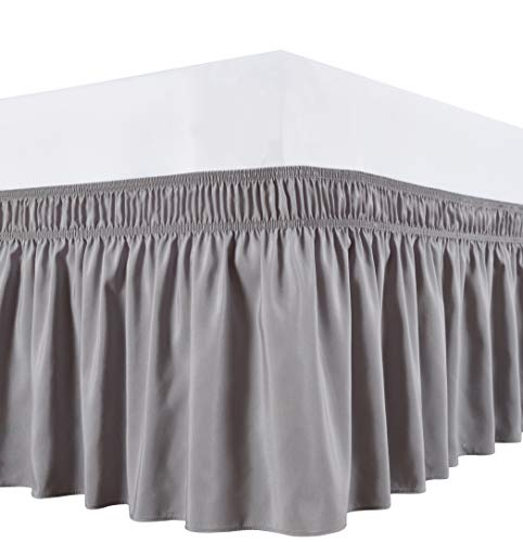 "Biscaynebay Wrap Around Bed Skirts Elastic Bed Ruffles, Easy Fit Wrinkle and Fade Resistant Solid Color Hotel Quality Fabric, Silver Grey Queen Size 15"" Drop"