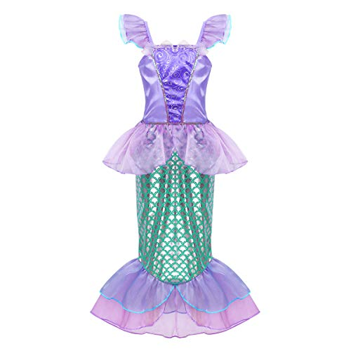iEFiEL Kids Girls Shiny Sequins Mermaid Tails Party Holiday Costume Outfits Fancy Dress Lavender&Green 9-10 -
